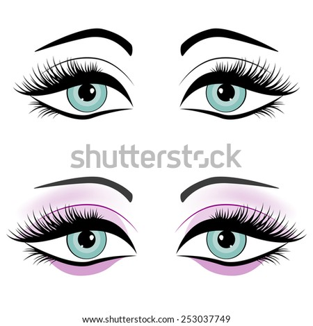 Set of female eyes isolated on white background, vector illustration - stock vector