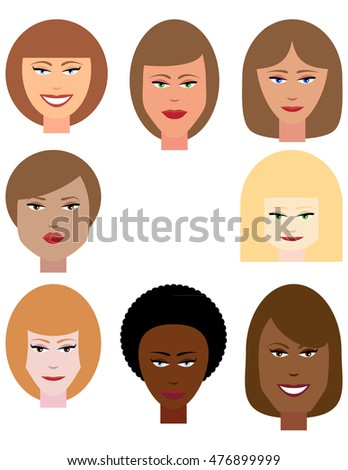 Set of Female Faces