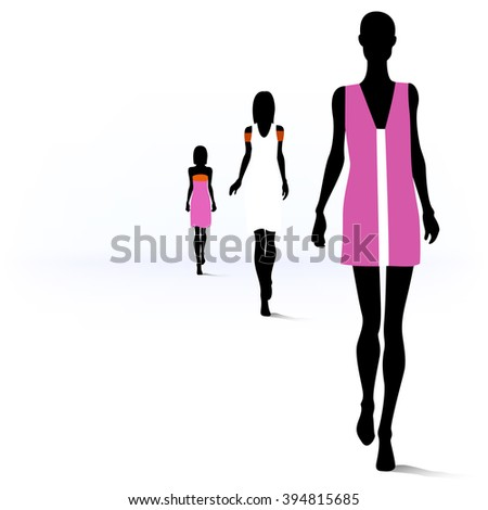Set of female fashion silhouettes on the runway - stock vector