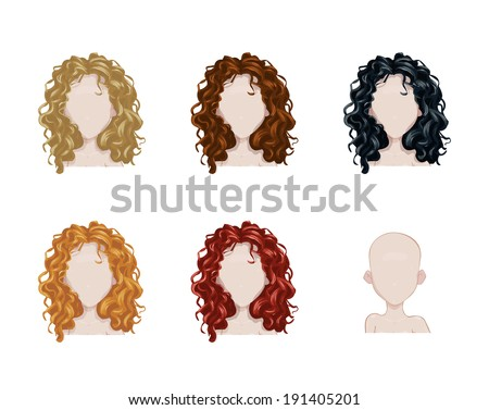 Set of female hair style. Vector collection - stock vector