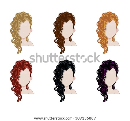 Set of female hair style. Vector collection.Trendy hairstyles  - stock vector