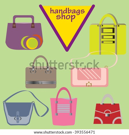 Set of female handbags. Women's fashion accessories. Vector.