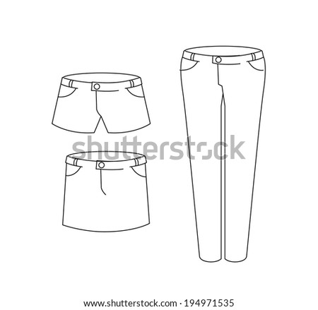 Set of female pant and mini skirt  - stock vector