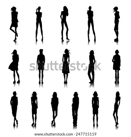 Set of female silhouettes in street style clothes - stock vector