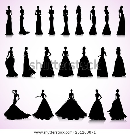 Set of female silhouettes in wedding dresses - stock vector