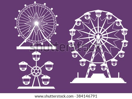 Set of Ferris Wheel from amusement park on purple backgrounds, vector illustrations  - stock vector