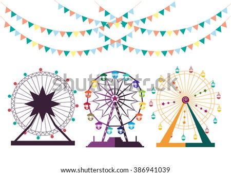 Set of Ferris Wheel from amusement park, vector illustrations - stock vector