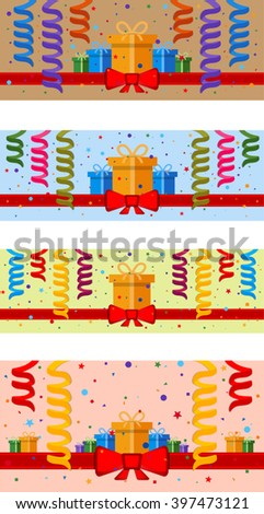 Set of festive background with gift boxes and red ribbon. Eps 10 - stock vector