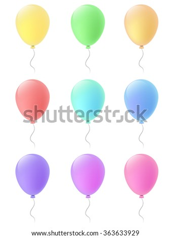 Set of festive balloons with transparency. Vector illustration of color balloons. Children party balloons isolated on white background.  - stock vector