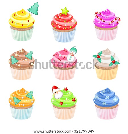 Set of festive Christmas cupcakes with different decorations - stock vector