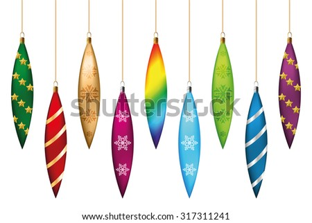 Set of festive Christmas decorations icicles for the Christmas tree. Isolated objects, vector, illustration - stock vector