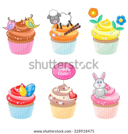 Set of festive Easter cupcakes with different decorations  - stock vector