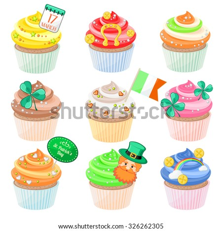 Set of festive Saint Patrick's Day cupcakes with different decorations  - stock vector