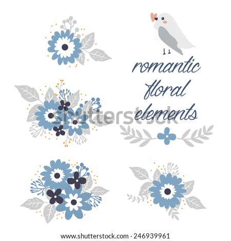 set of few romantic floral elements and cute cartoon bird with heart. can be used like elements for valentine's day greeting cards or for wedding invitations - stock vector
