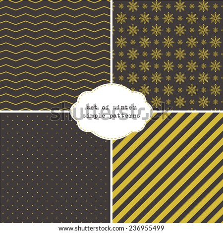 set of few winter simple patterns on dark background - stock vector