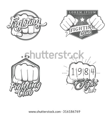 Set of fighting labels, badges, icons, logos and design templates. Vector illustration. - stock vector