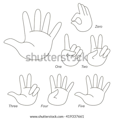 Set of figures from zero to five. How to show figure using fingers. The colorless version.