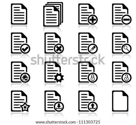 Set of file management and administration icons - stock vector