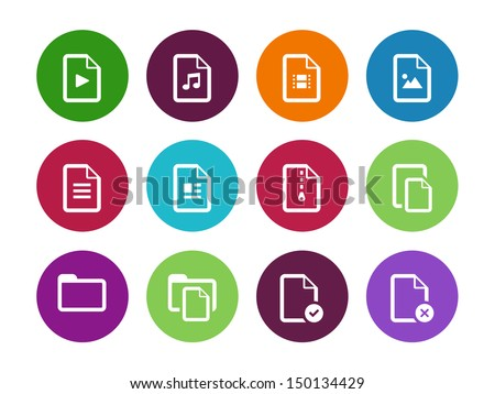 Set of Files circle icons on white background. Vector illustration. - stock vector