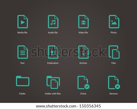 Set of Files icons. Vector illustration. - stock vector