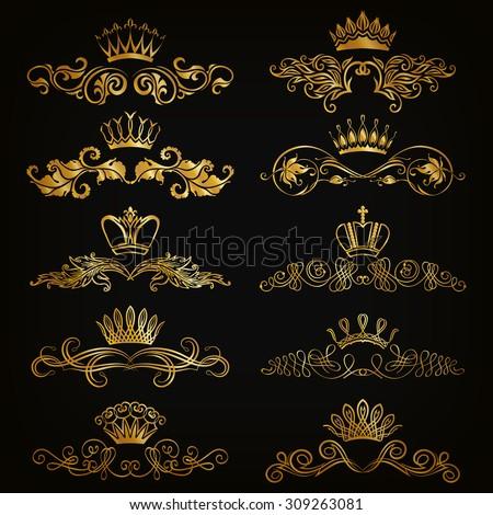 Set of filigree damask ornaments. Floral golden elements, borders, dividers, frames, crowns for page, web design. Page decoration in vintage style on black background. Vector illustration EPS 10. - stock vector