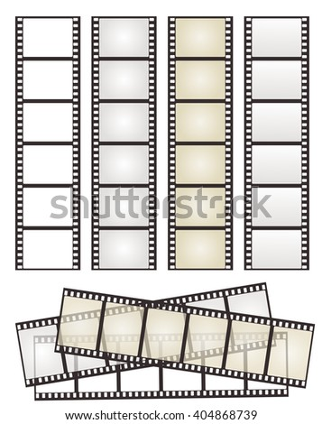 set of film strip with variation on white - stock vector