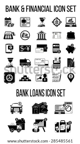 Set of finance & banking icons. Bank loan icons. Silhouettes - stock vector