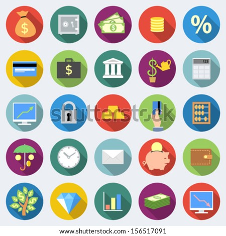Set of finance icons in flat design with long shadows - stock vector