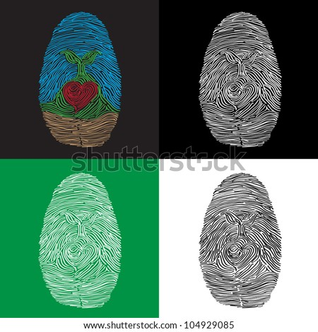 Set of fingerprints with a small plant and a heart in the markings - stock vector