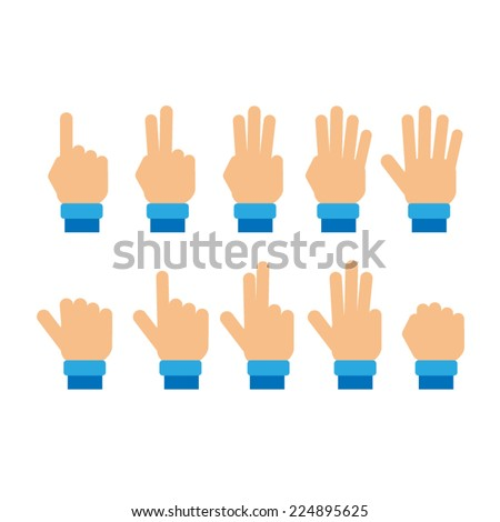 Set of fingers showing numbers  - stock vector