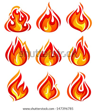 Set of fire flames isolated on white background. Vector illustration 10eps - stock vector