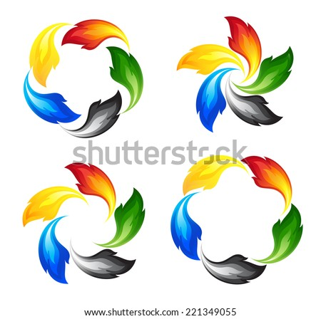 Set of fire icons in colors of the five continents - stock vector
