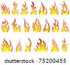 Set of fire vector icons for design use - stock vector