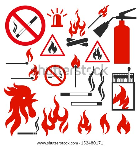 Set of fire vector icons on white background. Illustration on the theme of fire - stock vector