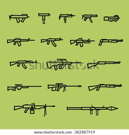 Set of firearm and weapon silhouette icons, line style, gun, machine gun, shotgun and rifle, firearm stock vector image