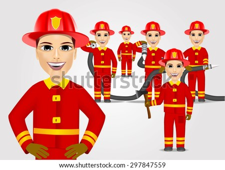 set of firefighters in red uniform holding fire hose isolated on white background - stock vector