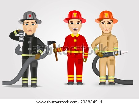 set of firefighters in uniform holding fire hose isolated over white background - stock vector