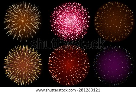 Set of Fireworks, EPS 10 contains transparency - stock vector