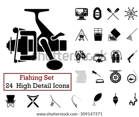 Set of 24 Fishing Icons in Black Color.  Suitable For All Kind of Design (Web Page, Interface, Advertising, Polygraph and Other). Vector Illustration.  - stock vector