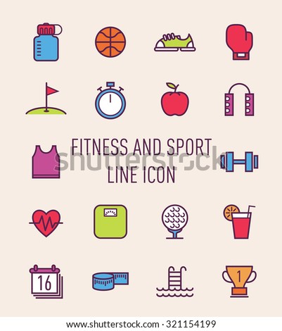 set of fitness and sport colorful line icon - stock vector