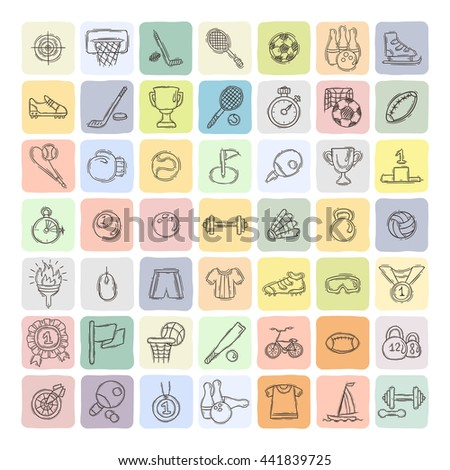 Set of Fitness and Sport doodle icons for web and mobile. Vector collection. - stock vector