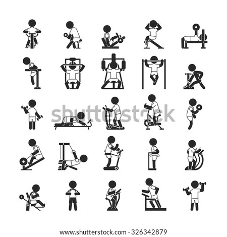 Set of fitness gym , Human pictogram Icons , eps10 vector format