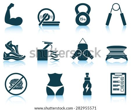 Set of fitness icons. EPS 10 vector illustration without transparency. - stock vector