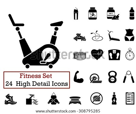 Set of 24 Fitness Icons in Black Color. Suitable For All Kind of Design (Web Page, Interface, Advertising, Polygraph and Other). Vector Illustration.  - stock vector