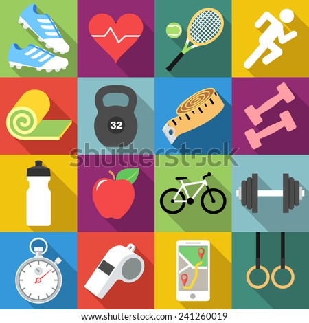 Set of fitness icons in flat design with long shadows
