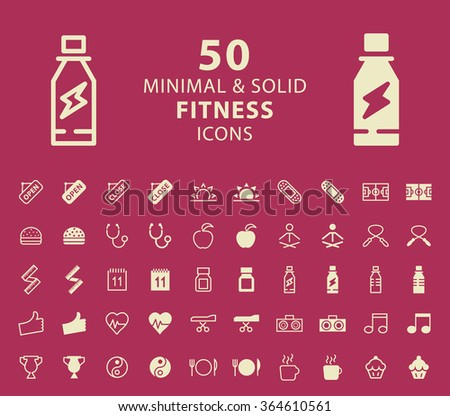 Set of 50 Fitness Minimal and Solid Icons. Vector Isolated Elements. - stock vector