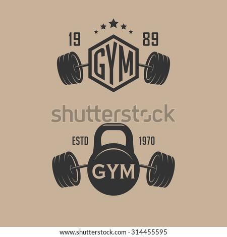 Set of fitness sport club emblems - stock vector