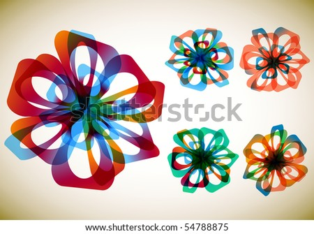 Set of five abstract flowers - stock vector