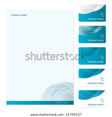 Set of five blue business cards and stationery sheet - stock vector