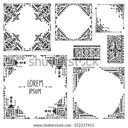 Set of five borders with tribal art boho hand drawn geometric patterns. Ethnic print  in black and white style. Frames for greeting card, invitations and other - stock vector